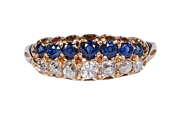 Two row Sapphire and diamond ring stack  DBGEMS - image 6