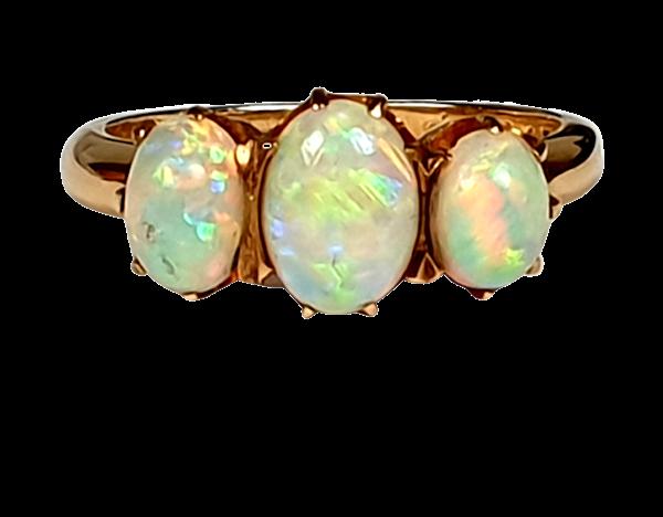 Antique opal three stone ring  DBGEMS - image 5