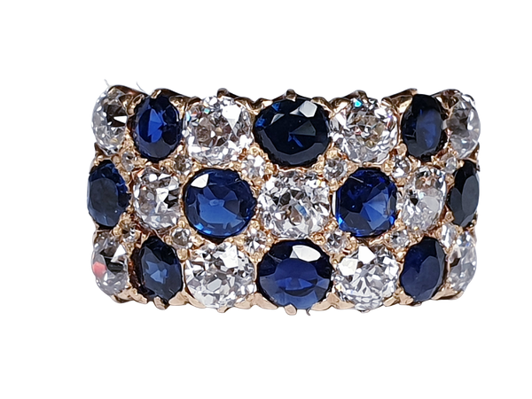 Fabulous antique sapphire and diamond three row ring  DBGEMS - image 6