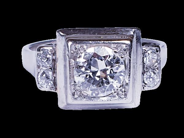French art deco diamond engagement ring  DBGEMS - image 6