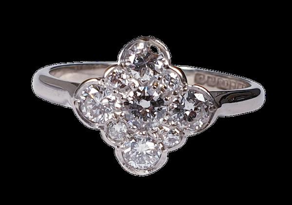 Art Deco Quatrafoil Diamond Engagement Ring  DBGEMS - image 6