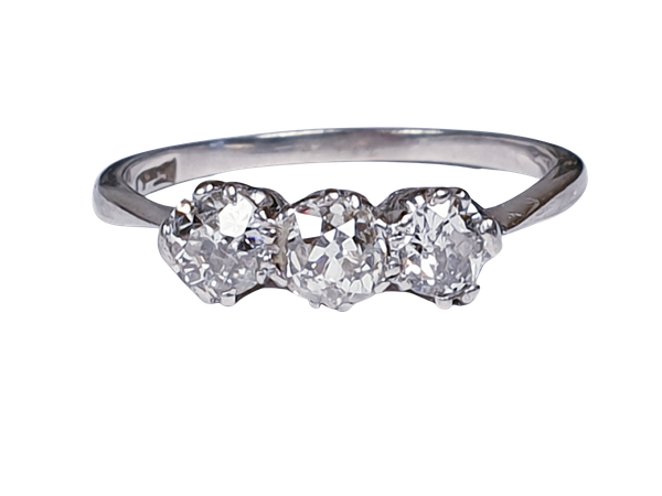 Three stone diamond ring set in platinum  DBGEMS - image 4