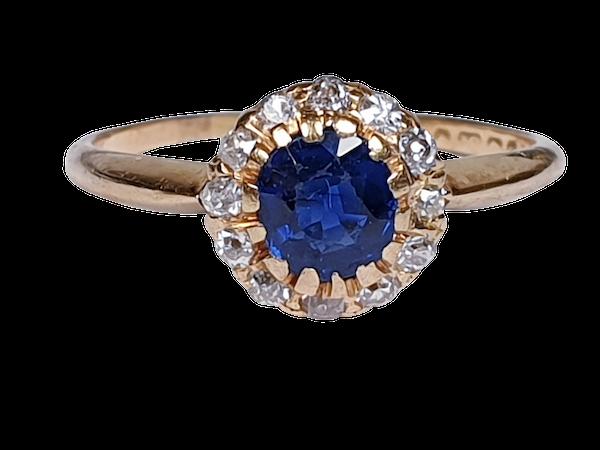 Edwardian Sapphire and Diamond Ring  DBGEMS - image 6