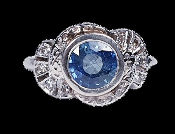 Art Deco Ceylon Sapphire and Diamond Engagement Ring  DBGEMS - image 5