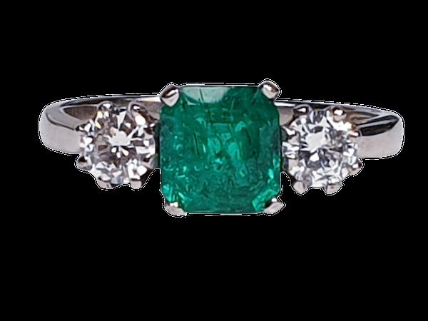 Fantastic Enerald and Diamond Three Stone Diamond Ring  DBGEMS - image 5