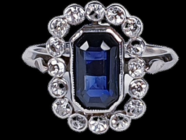 Art Deco Sapphire and Diamond Ring 3553   DBGEMS - image 1