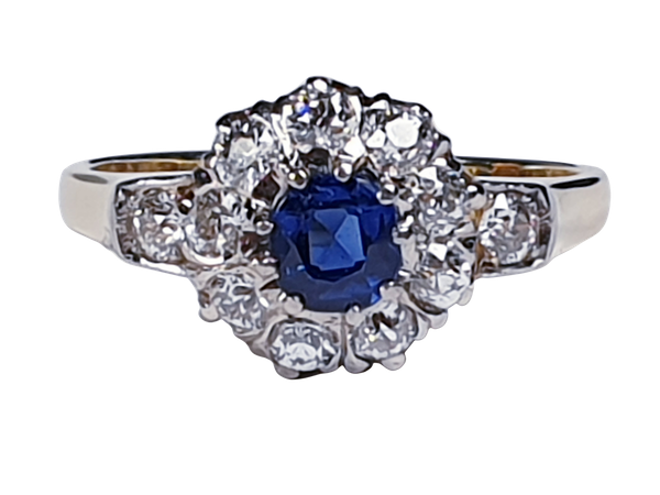 Antique Sapphire and Diamond Cluster Ring 2524   DBGEMS - image 1
