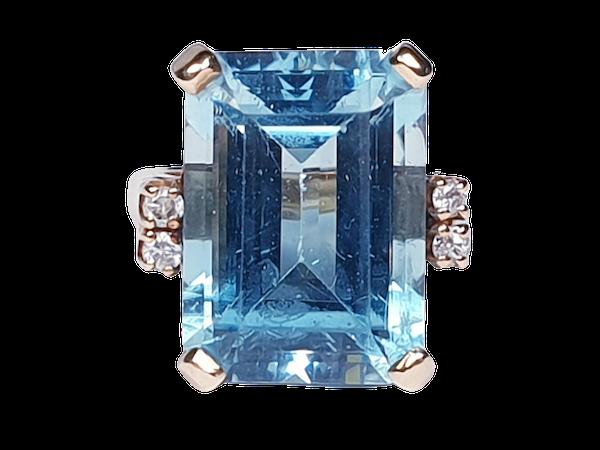 Blue topaz and diamond dress ring  DBGEMS - image 1