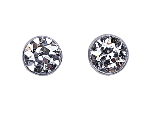 Pair of 2ct total old European transitional cut diamond earrings  DBGEMS - image 1