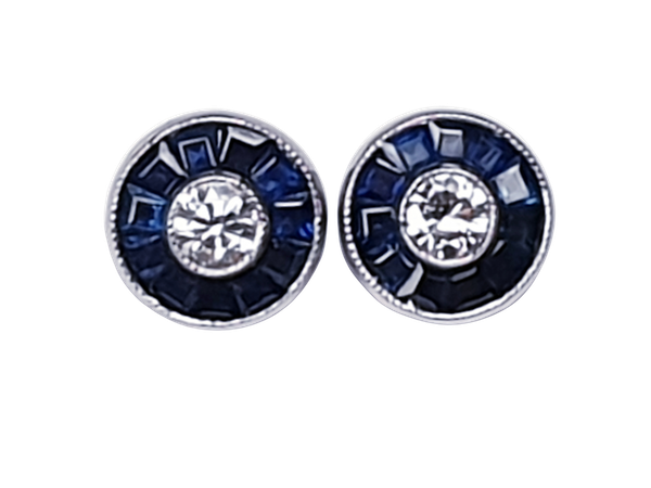Diamond and calibre sapphire stud earrings  DBGEMS - image 1