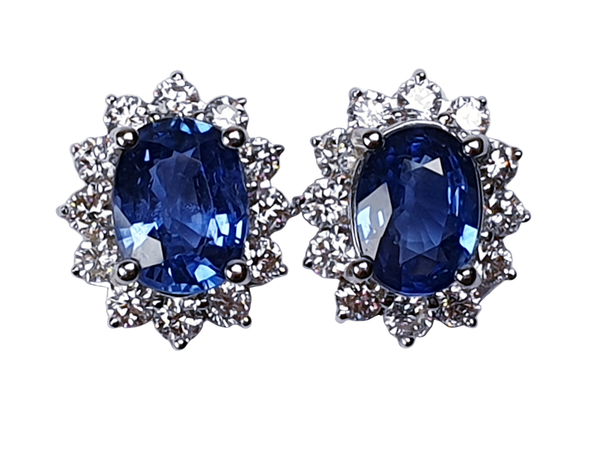 Sapphire and diamond cluster earrings  DBGEMS - image 1