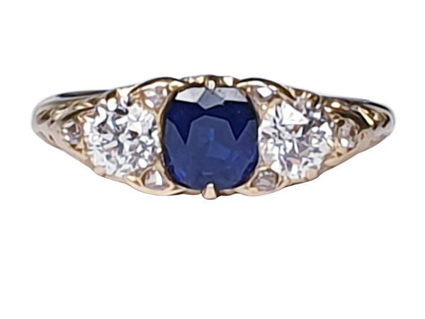 Sapphire and diamond carved half hoop engagement ring  DBGEMS - image 5