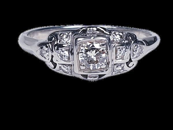 Cool Art Deco Diamond Engagement Ring  DBGEMS - image 4