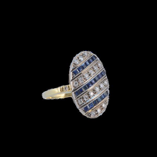 Sapphire Diamond Ring in 18ct Yellow/White Gold date circa 1940 SHAPIRO & Co since1979 - image 6