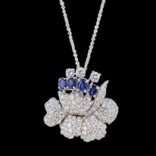 1950's, Platinum, Sapphire and Diamond stone set Pendant/Brooch, SHAPIRO & Co since1979 - image 9