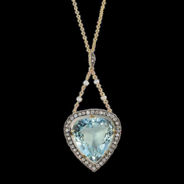Date: circa 1900, Platinum & 15ct Yellow Gold, Aquamarine, Diamond and Seed Pearl stone set Pendant, SHAPIRO & Co since1979 - image 6