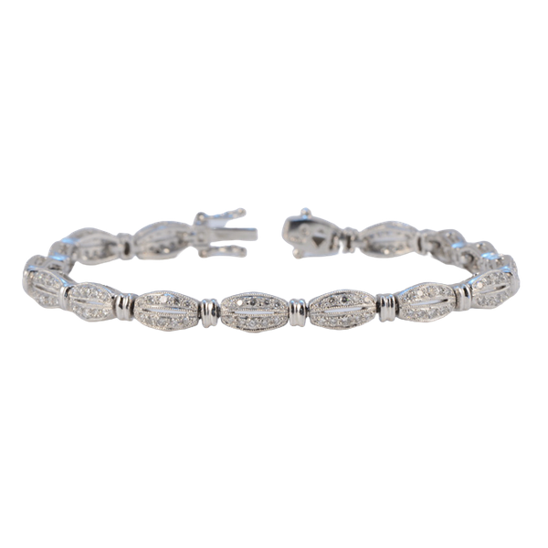 1980's, Platinum and Diamond stone set Bracelet, SHAPIRO & Co since1979 - image 13