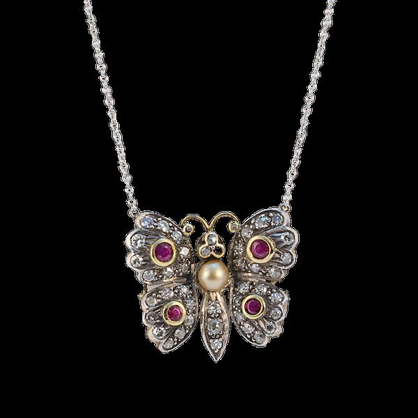 Date: circa 1910, 18ct Yellow/White Gold, Diamond, Ruby and Pearl stone set Pendant, SHAPIRO & Co since 1979 - image 7