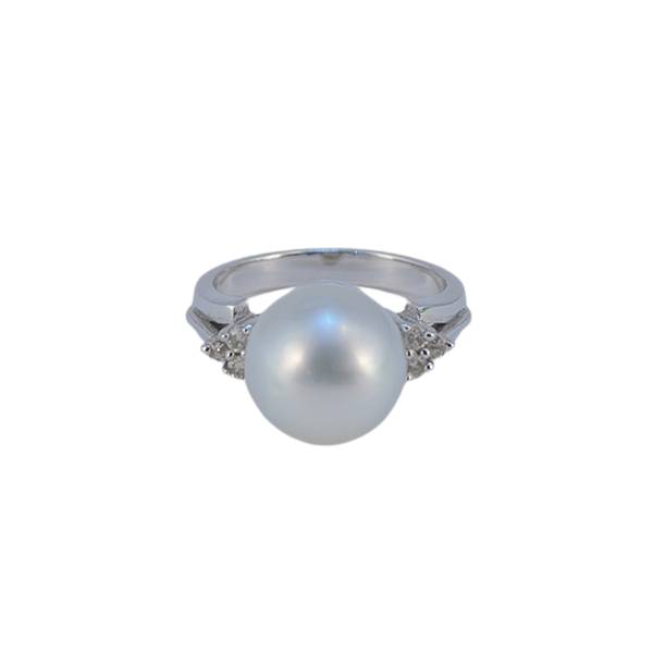 1980's, 18ct White Gold & South Sea Pearl & Diamond stone set Ring, SHAPIRO & Co since1979 - image 6