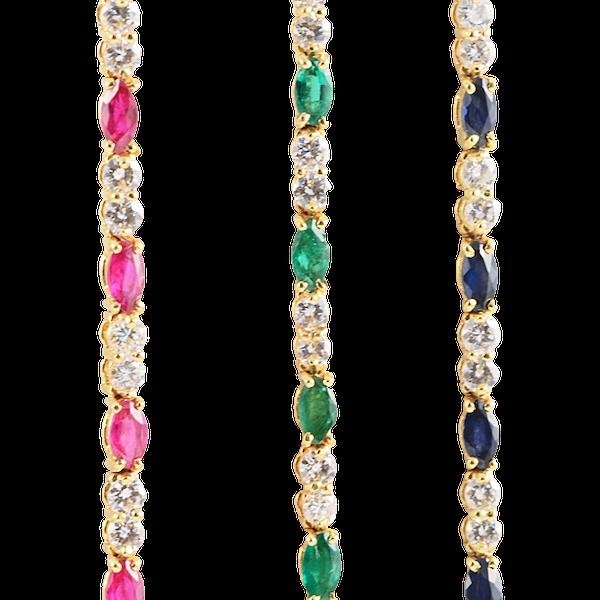 1970's, 18ct Yellow Gold, Ruby,Sapphire,Emerald and Diamond 3 Bracelets, SHAPIRO & Co since1979 - image 8