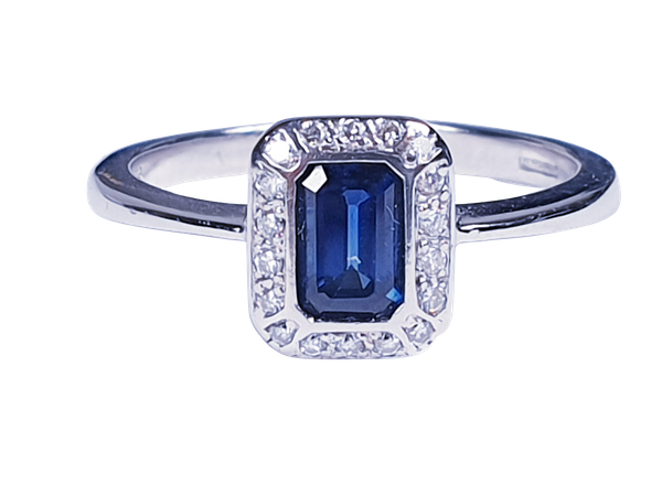 Emerald Cut Sapphire and Diamond Engagement Ring  DBGEMS - image 6