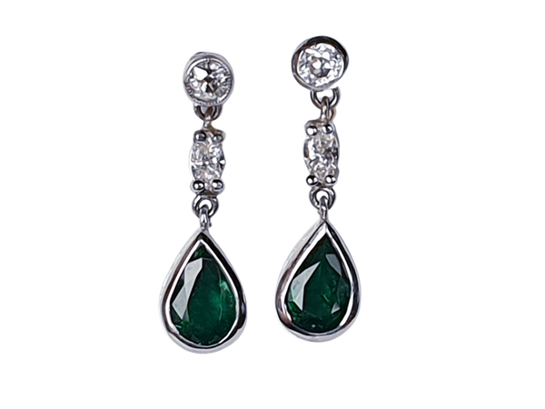Pair of emerald and diamond drop earrings  DBGEMS - image 1