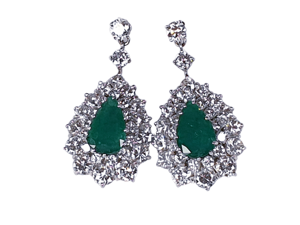 Impressive emerald and diamond earrings  DBGEMS - image 1