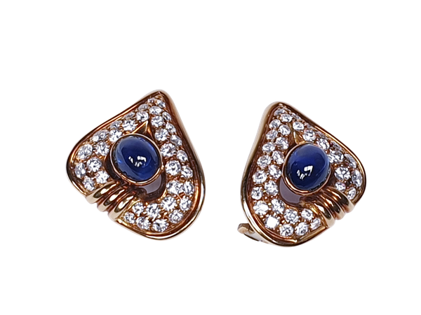 Cabochon Sapphire and Diamond Earrings DBGEMS - image 1