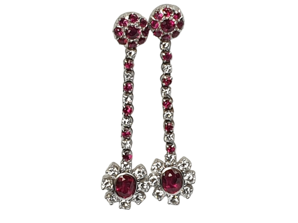 Ruby and Diamond Drop Earrings  DBGEMS - image 1