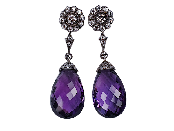 Antique Amethyst and Diamond Drop Earrings  DBGEMS - image 1