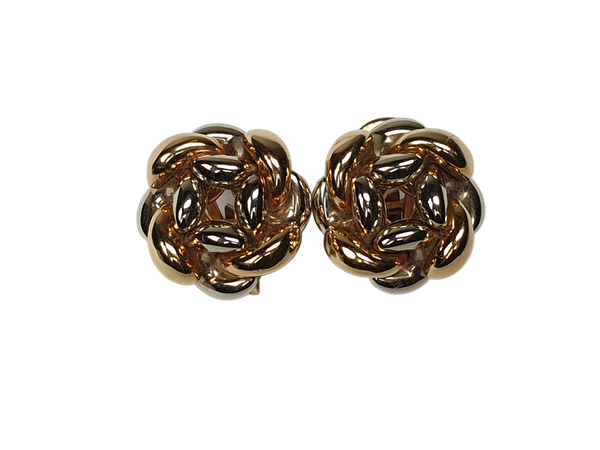 Two Colour 18ct Gold Knot Earrings  DBGEMS - image 1