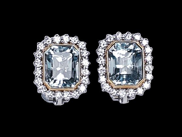 Aquamarine and Diamond Stud Earrings  DBGEMS - image 1