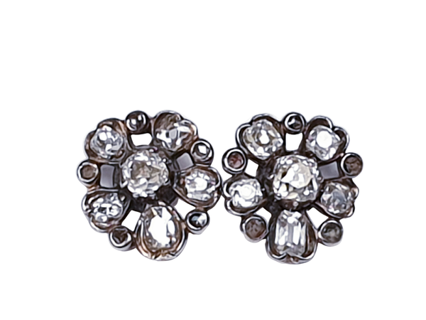Georgian diamond pansy earrings  DBGEMS - image 1