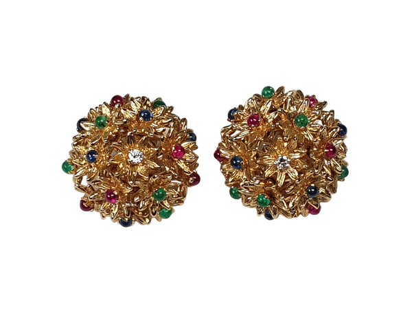 RECENTLY SOLD A Gem Set Cabochon Flower Earrings DBGEMS - image 1