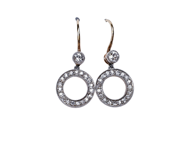 Edwardian Diamond 'Polo' Drop Earrings  DBGEMS - image 1
