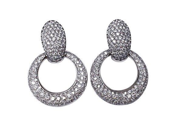 Pave diamond top and hoop drop earrings  DBGEMS - image 1