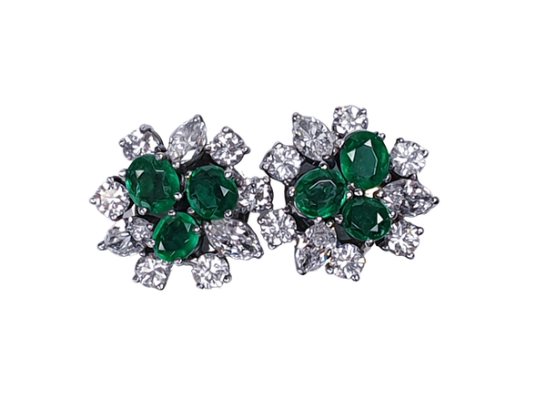 Emerald and marquise diamond scattered earstuds  DBGEMS - image 1