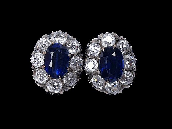 Sapphire & Diamond Cluster Earrings circa 1880  DBGEMS - image 1