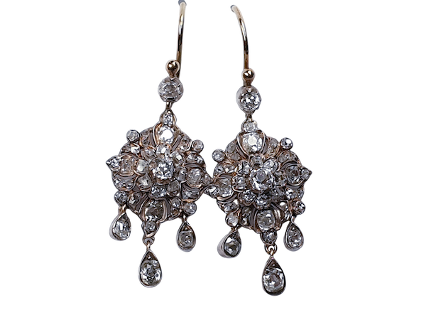 Pair of Elegant Antique Diamond Cluster Drop Earrings  DBGEMS - image 1