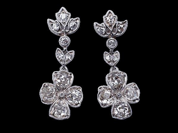 Quatrafoil Diamond drop Earrings set in Platinum  DBGEMS - image 1