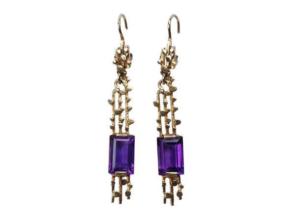 1960's amethyst drop earrings  DBGEMS - image 1