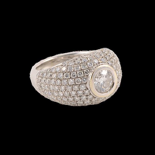 1970's, Bombé 18ct White Gold Diamond stone set Ring, SHAPIRO & Co since1979 - image 1