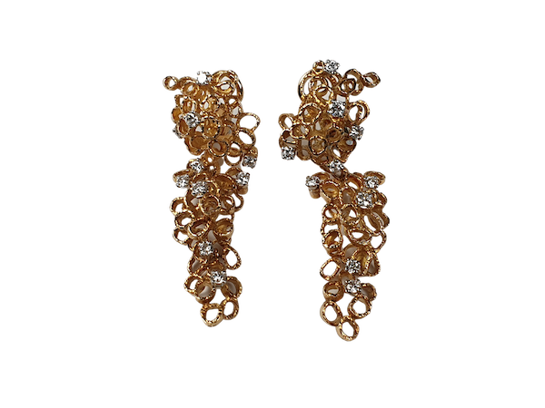1970's gold and diamond earrings  DBGEMS - image 1