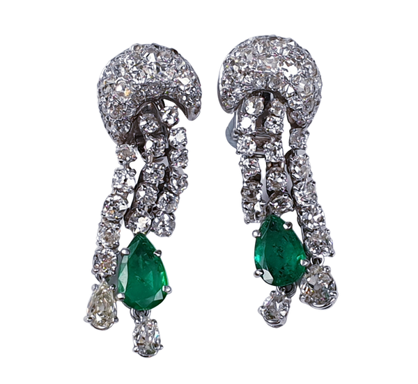 Dramatic Emerald and Diamond Earrings by Pierre Sterle  DBGEMS - image 1