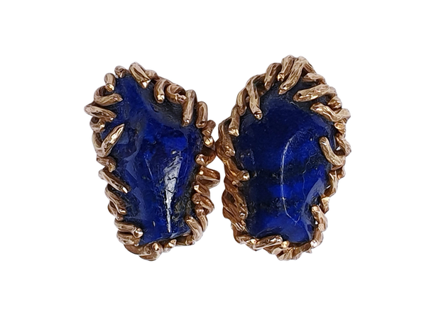 1960's Faceted Lapis Lazuli Gold Earrings  DBGEMS - image 1