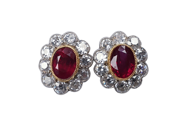 Intense ruby and diamond cluster earrings  DBGEMS - image 1
