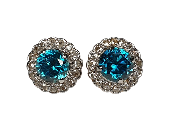 Electric Blue Zircon and Diamond Cluster Earrings  DBGEMS - image 1