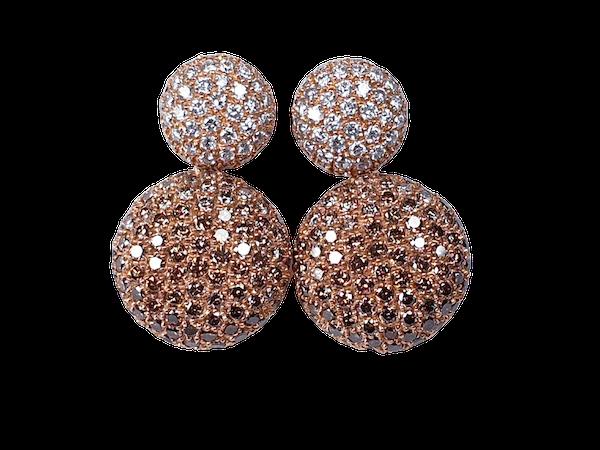 Cognac diamond and white diamond pave drop earrings  DBGEMS - image 1