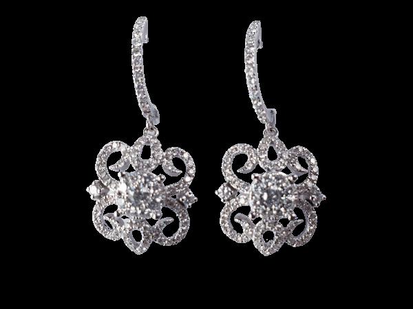 Modern diamond filigree earrings  DBGEMS - image 1