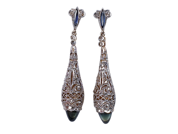 Antique Sapphire and Diamond Drop Earrings  DBGEMS - image 1